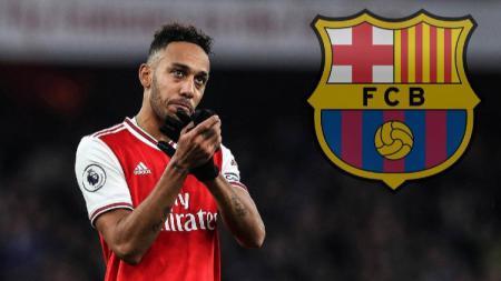 Striker Arsenal, Pierre-Emerick Aubameyang yang kabarnya gabung Barcelona di bursa transfer musim dingin, terancam batal. - INDOSPORT
