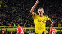 Indosport - Erling Haaland merayakan golnya dalam laga Borussia Dortmund vs Union Berlin