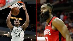 Indosport - Dua bintang basket NBA, Giannis Antetokounmpo (kiri) dari Milwaukee Bucks dan James Harden, bintang Houston Rockets.
