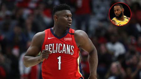 Bintang muda New Orleans Pelicans, Zion Williamson (insert: LeBron James, megabintang LA Lakers). - INDOSPORT
