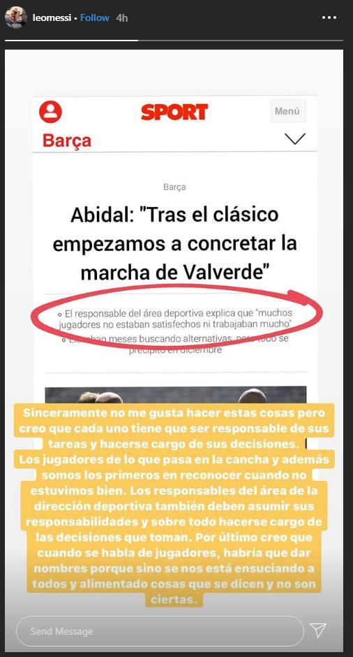 Megabintang Barcelona, Lionel Messi, serang petinggi klub dan eks rekan setim, Eric Abidal. Copyright: Instagram/@leomessi