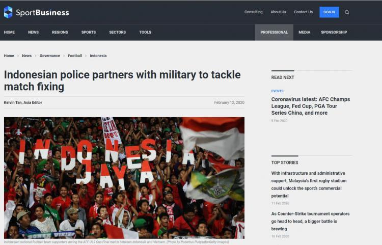 Cara Polisi Tangani Kasus Mafia Sepak Bola Jadi Sorotan Media Asing Copyright: sportbusiness.com