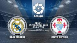 Real Madrid akan menjamu Celta Vigo pada pekan ke-24 LaLiga Spanyol. Pertandingan ini dapat disaksikan secara live streaming, Senin (17/2/20), pukul 03.00 WIB.