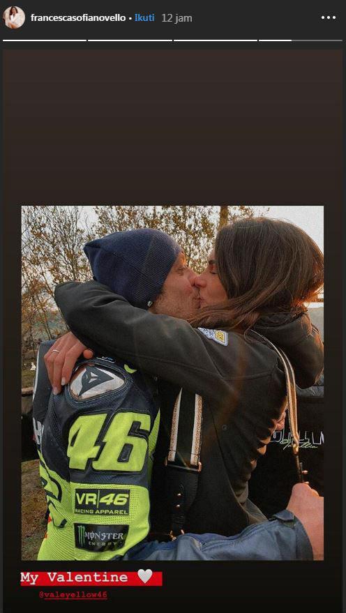 Francesca Sofia Novello pamer momen intim bersama Valentino Rossi di hari Valentine. Copyright: Instagram/Francesca Sofia Novello