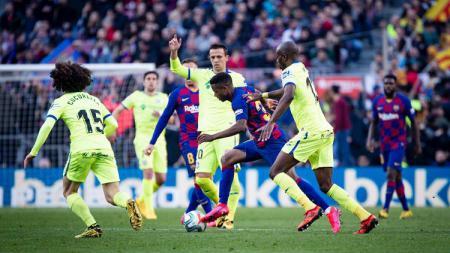Pertandingan Barcelona vs Getafe dalam lanjutan pekan ke-24 LaLiga Spanyol di Stadion Camp Nou, Sabtu (15/02/20). - INDOSPORT