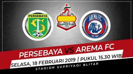Jadwal pertandingan semifinal kedua Piala Gubernur Jatim 2020 hari ini antara Persebaya Surabaya vs Arema FC. - INDOSPORT