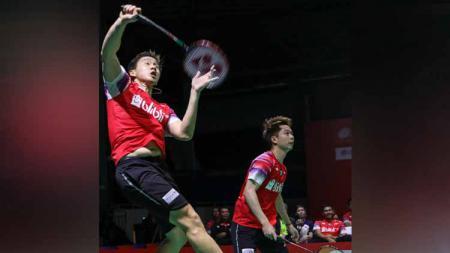 Pasangan ganda putra Indonesia, Marcus Fernaldi Gideon/Kevin Sanjaya Sukamuljo mengalami turun peringkat ke posisi sembilan dalam update ranking BWF World Tour Finals. - INDOSPORT
