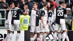 Selebrasi pemain Juventus usai gol Paulo Dybala ke gawang Brescia di pertandingan pekan ke-24 Serie A Liga Italia, Minggu (16/02/20).