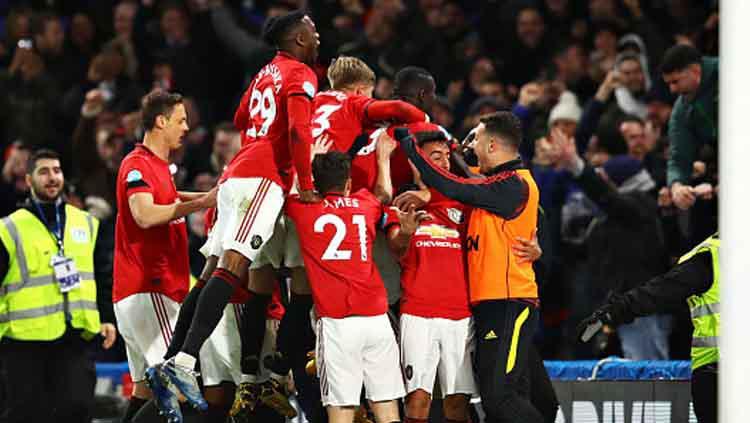 Selebrasi pemain Manchester United saat unggul 2-0 atas tuan rumah Chelsea dalam lanjutan Liga Inggris 2019-2020 pekan ke-24 Copyright: Chris Brunskill/GettyImages