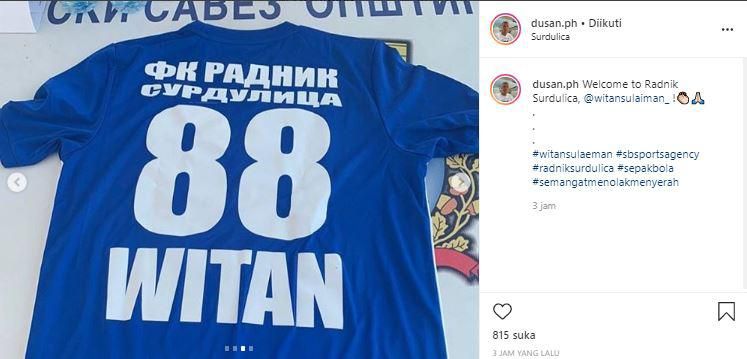 Unggahan Dusan Bogdanovic soal nomor punggung Witan Sulaeman di FK Radnik. Copyright: Instagram