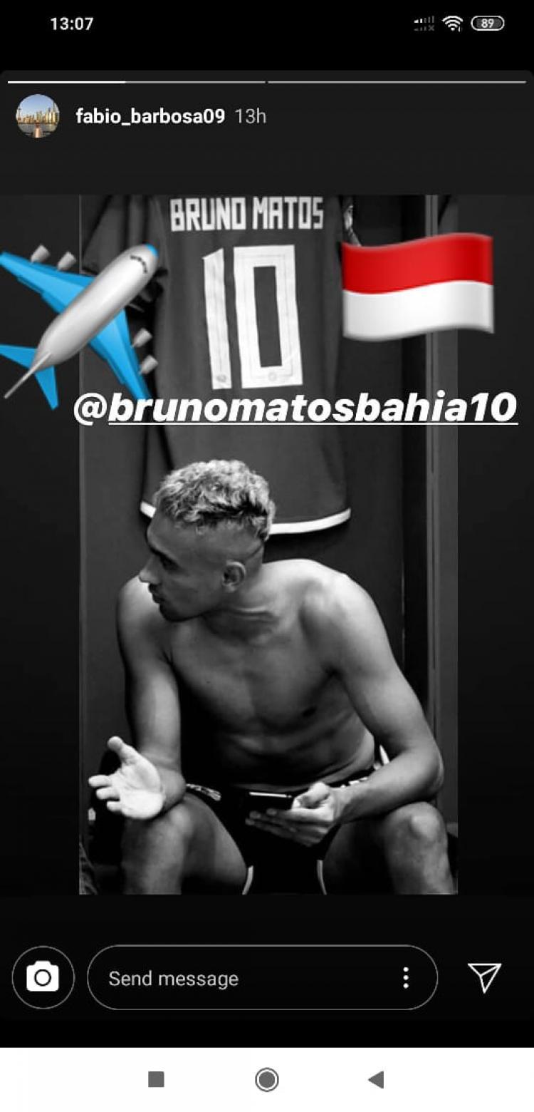 Gelandang asal Brasil, Bruno Matos, dipastikan masih ingin melanjutkan kariernya di kompetisi kasta tertinggi Liga Indonesia musim ini. Copyright: Instagram