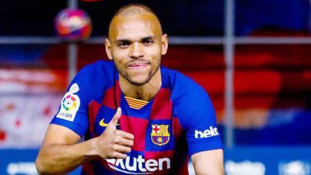 Barcelona resmi dapatkan pengganti Ousmane Dembele, Martin Braithwaite, Quique Setien selaku pelatih menyebutkan pemain barunya prematur. - INDOSPORT