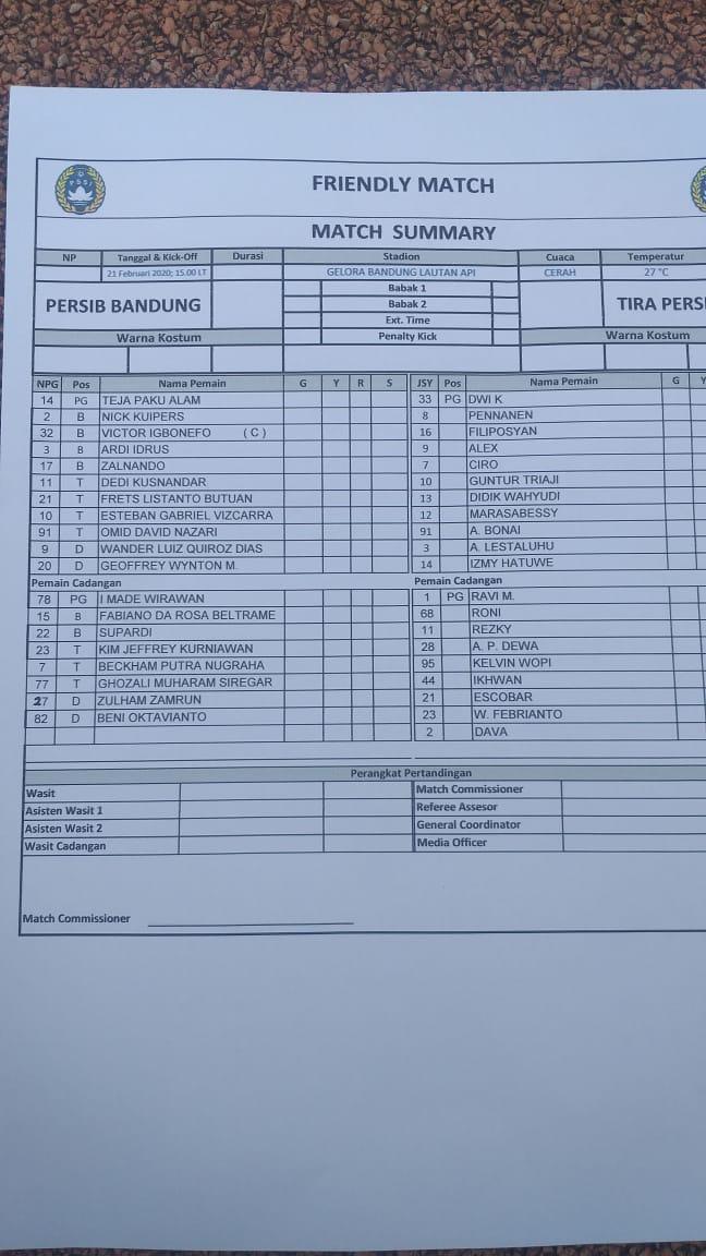 Line up pertandingan uji coba Persib Bandung vs Tira Persikabo, ada nama Abduh Lestaluhu Copyright: Arif Rahman/INDOSPORT