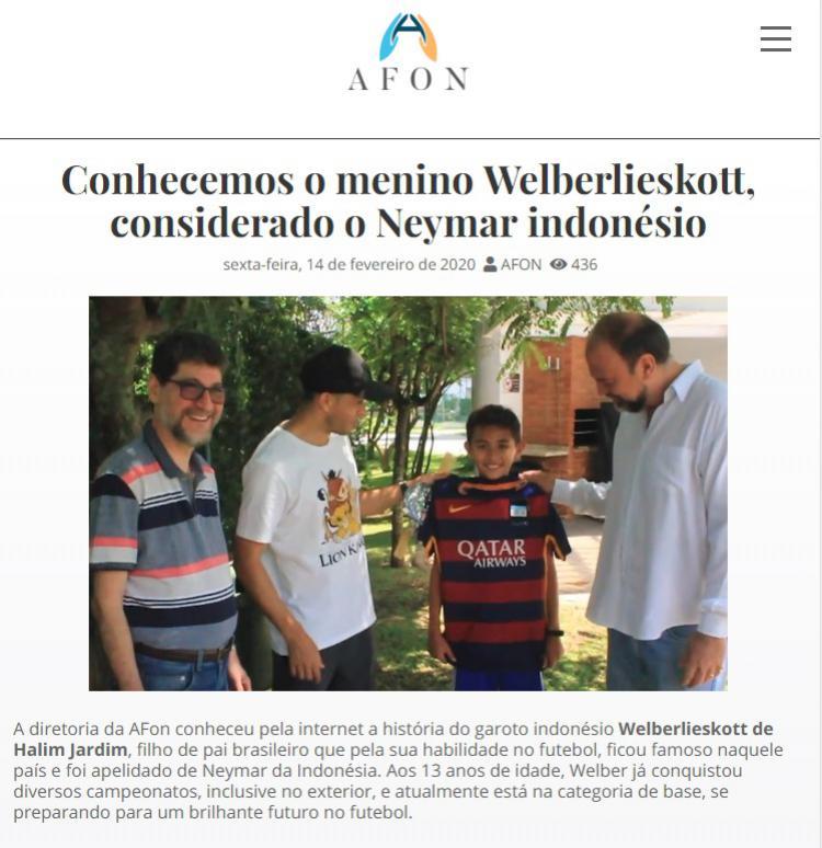 Wonderki asal Balikpapan, welberlieskott de halim jardim mendapat hadiah khusus dari Neymar Copyright: afon.org.br