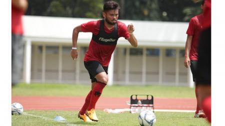 Bintang timnas Indonesia, Saddil Ramdani, menjalani latihan. - INDOSPORT