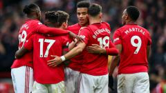 Indosport - Selebrasi para pemain klub Liga Inggris, Manchester United.
