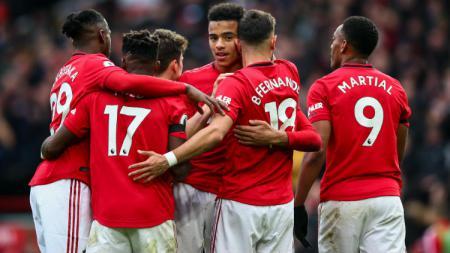 Selebrasi para pemain klub Liga Inggris, Manchester United. - INDOSPORT