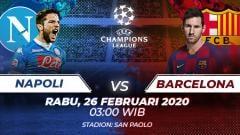 Indosport - Berikut link live streaming pertandingan leg pertama babak 16 besar Liga Champions Eropa antara tuan rumah Napoli vs Barcelona.