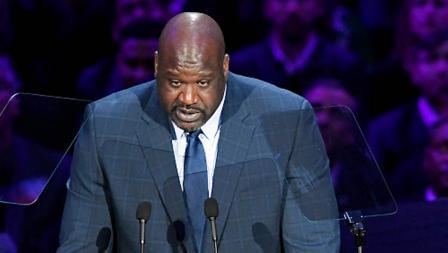Dengan mata berkaca-kaca, legenda NBA, Shaquille ONeal memberikan pidato untuk penghormatan terakhir bertajuk Celebration of Life bagi Kobe Bryant dan Gianna Bryant di Staples Center pada tanggal (24-02-20) waktu setempat