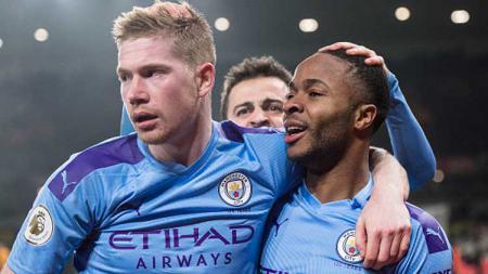 Terkait pernyataan terbuka Raheem Sterling soal kemungkinan pindah dari Manchester City tempo hari rupanya sampai ke telinga Kevin de Bruyne. - INDOSPORT