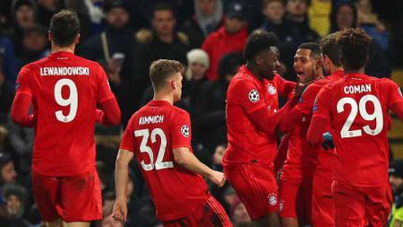 Serge Gnabry bersama Bayern Munchen sukses mengalahkan Chelsea di leg pertama 16 besar Liga Champions. - INDOSPORT