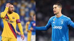 Indosport - Pemain Barcelona, Lionel Messi (kiri) dan Cristiano Ronaldo, pemain Juventus memiliki jumlah gol yang sama hingga leg pertama babak 16 besar Liga Champions 2019-2020.
