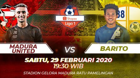 Link live streaming pertandingan Liga 1 2020 pekan pertama antara Madura United vs Barito Putera di Vidio.com. - INDOSPORT