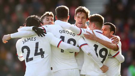 Selebrasi para pemain Chelsea saat melawan Bournemouth dalam pertandingan Liga Inggris 2019-2020 pekan ke-28 - INDOSPORT