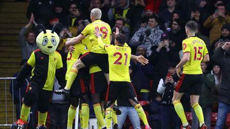 Selebrasi para pemain Watford usai menenggelamkan Liverpool dengan skor 3-0 dalam pertandingan Liga Inggris 2019-2020 pekan ke-28 di Vicarage Road. - INDOSPORT