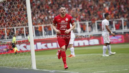 Marko Simic sukses mencetak gol di menit ke-36 dalam laga Liga 1 2020 antara Persija Jakarta vs Borneo FC.