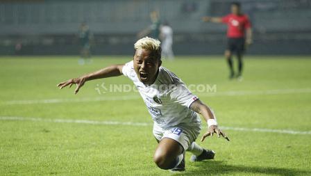 Selebrasi pemain Arema FC.