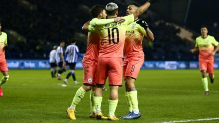 Striker Manchester City, Sergio Aguero merayakan golnya di Piala FA ke gawang Sheffield Wednesday - INDOSPORT