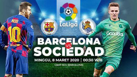 Barcelona diprediksi akan kesulitan menghadapi Real Sociedad di pertandingan pekan ke-27 LaLiga Spanyol 2019/20, Minggu (08/02/20). - INDOSPORT