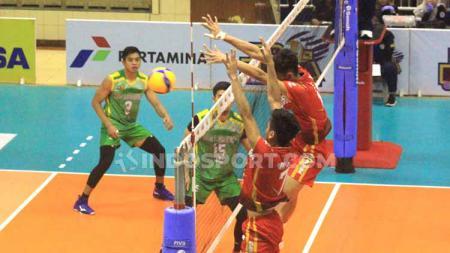 Palembang Bank Sumselbabel (PBS) versus Jakarta Garuda dalam seri dua Proliga 2020 pada Sabtu (07/03/20) di GOR C-Tra Arena, Bandung. - INDOSPORT