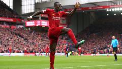 Indosport - Sadio Mane merayakan golnya di laga Liverpool vs Bournemouth