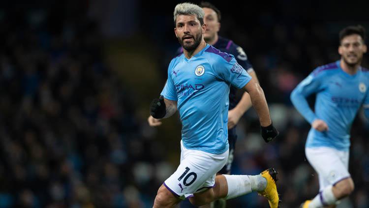 Penyerang klub Liga Inggris, Manchester CIty, Sergio Aguero diizinkan pergi oleh klubnya. Copyright: Visionhaus/GettyImages