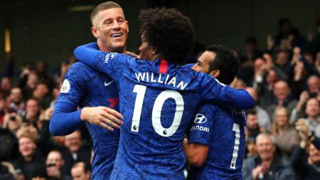 Hasil pertandingan Liga Inggris Chelsea vs Everton memperlihatkan kisah The Blues yang berpesta gol. - INDOSPORT