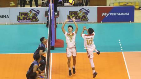 Jakarta Garuda akhirnya meraih kemenangan pertamanya usai tundukkan Lamongan Sadang MHS pada seri dua putaran kedua Proliga 2020, (08/03/20) di Gor C-Tra Arena, Bandung. - INDOSPORT