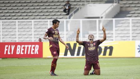 Selebrasi pemain PSM Makassar, Osas Saha dalam laga Piala AFC 2020 kontra Kaya FC.