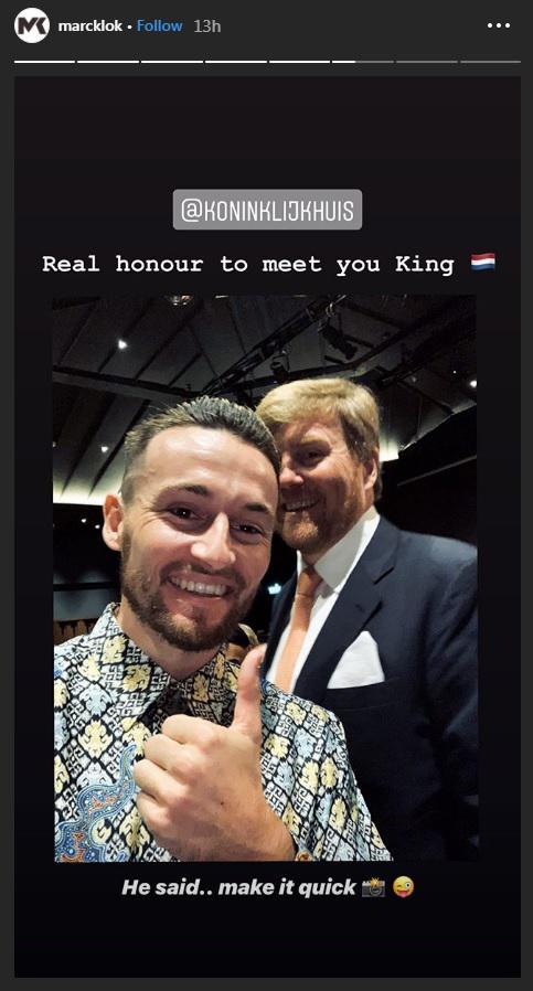 Pemain Persija Jakarta, Marc Klok, bersama Raja Belanda, Willem-Alexander. Copyright: Instagram/@marcklok