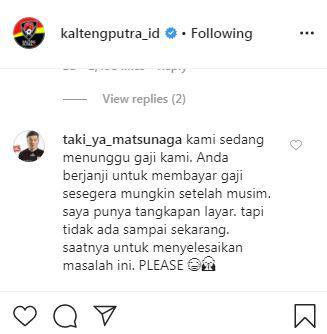 Takuya Matsunaga tagih gaji musim lalu ke Kalteng Putra via Instagram Copyright: @kaltengputra_id