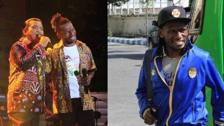 Mantan pemain PSIM Yogyakarta asal Papua, Ayub Antoh, sempat viral di media sosial setelah berduet dengan legenda campursari Didi Kempot. - INDOSPORT