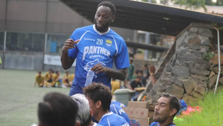 Pemain asing Persib, Geoffrey Castillion di Lapangan Inspire Arena, Kabupaten Bandung Barat, Minggu (22/03/2020). Copyright: Media Officer Persib