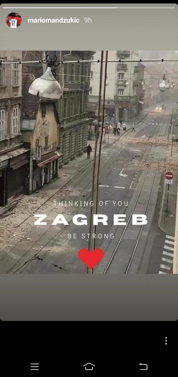 Unggahan mantan pemain Juventus, Mario Mandzukic, terkait gempa di Zagreb, Kroasia. Copyright: Instagram/@mariomandzukic