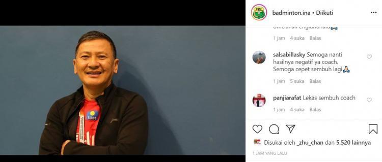 Dilaporkan menjadi PDP Corona, pelatih bulutangkis Hendry Saputra banjir doa netizen. Copyright: Instagram/Badminton Indonesia