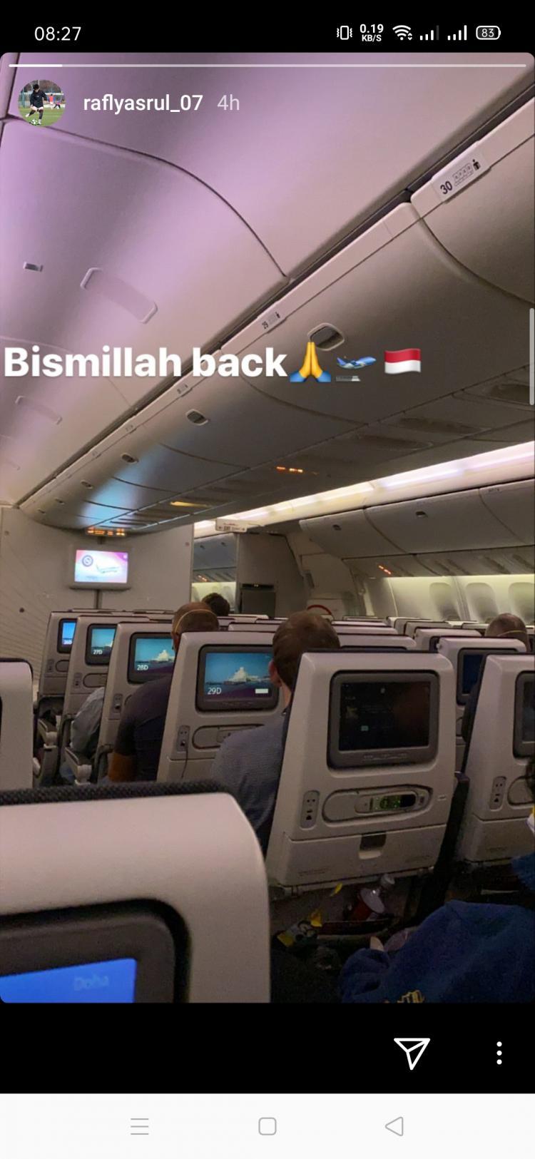 Pandemi Virus Corona, Garuda Select Putuskan Pulang ke Indonesia Copyright: instagram.com/raflyasrul_07