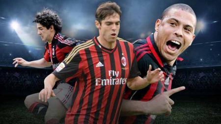 AC Milan pernah memiliki trio Brasil Kaparo (Kaka, Pato, Ronaldo) yang sempat mencuri perhatian di waktu singkat pada masa silam. - INDOSPORT