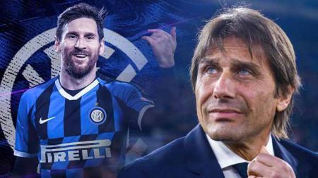 Antonio Conte menyebut rumor kepindahan Lionel Messi ke Inter Milan hanyalah sebuah fantasi atau khayalan semata. - INDOSPORT