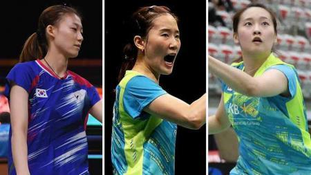 Tiga pebulutangkis cantik Korea Selatan, Kim Ha-na, Chang Ye-na, dan Chae Yoo-jung. - INDOSPORT