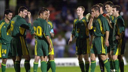 Skuat Timnas Australia saat bantai American Samoa 31-0 di ajang Kualifikasi Piala Dunia 2002. - INDOSPORT